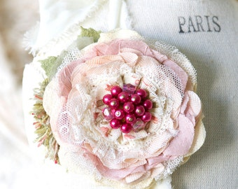 Pink Corsage, Fabric Flower Pin, Mother of the Bride, Wedding Brooch, Sash Pin, Bridesmaid Flower Pin, Prom Corsage, Floral Brooch Pin