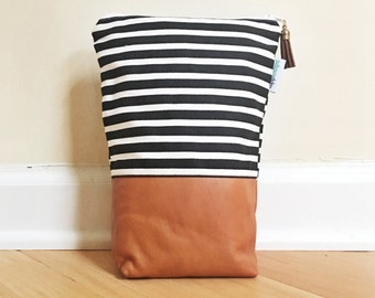 Vintage Leather Diaper Zip Travel Pouch Black and White Stripe Modern Monochrome with Ampersand Chic Baby Shower Gift READY TO SHIP