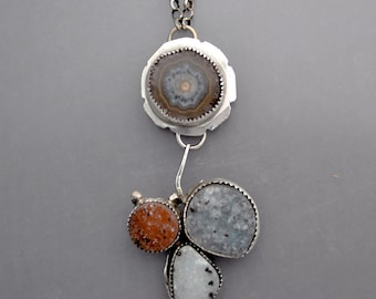 Agate Stalactite and Drusy Necklace