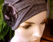 Ooh Lala Scrunchie Chemo Hat Grey  Turban slouchy Hat with flower Chemo Headwear for women