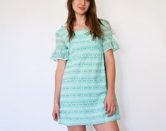60s Blue Floral Stripe Frill Sleeve Babydoll Mini Dress xs s
