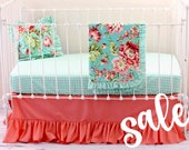 SALE* 30%OFF Coral Bliss Coral & Aqua Baby Girl Bedding Set, Bumperless Crib Bedding - Multiple Accessory Options - LottieDaBaby Spring Sale