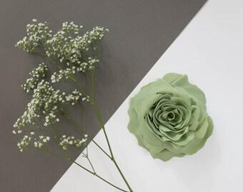 Light green one flower brooch, fabric, handmade