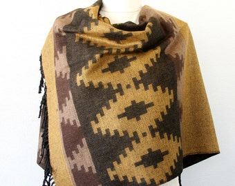 Mustard  blanket scarf native american clothing tribal scarf large winter shawl boho wrap bohemian scarf aztec scarves christmas gift women