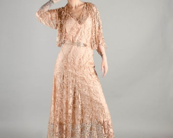 Vintage 1930's Rose Gold Silk Lace Gown