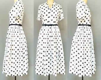 Vintage 1950's Black & White Polka Dot Dress