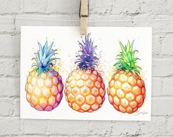 "Fat Pineapples: 5x7"" print"