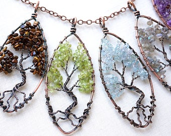 Summer Outdoors Raw Crystal Green Peridot Tree of Life Necklace Gemstone Tree of Life Pendant Wirewrapped Bonsai Tree Family Tree Necklace