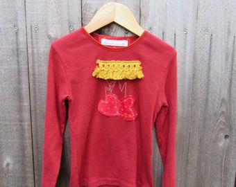 Upcycled Kids Shirt Sweatshirt Redesigned Recycled Clothing Hippie Child Boho Kid 5 Years Gr. 116 Sweatshirt Stripes Heart  Cotton Velvet