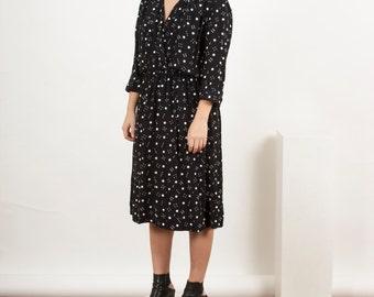 Midi length Dress / Vintage Polkadot Pleated Dress / Long Sleeve Spring Dress