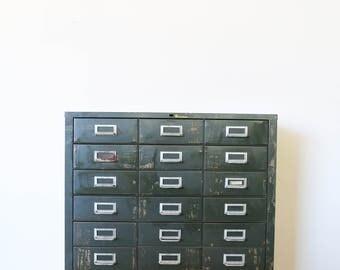 Cole Steel 18 drawer mechanic's vintage industrial cabinet drawer