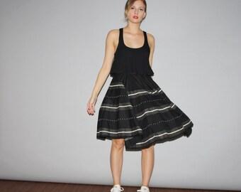 Vintage 1950s Black and White Sequin Stripe Circle Skirt  - Vintage 50s Skirts - Vintage 1950s Skirt  - W00141