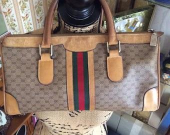 Vintage 1980s Handbag Purse Authentic GUCCI Speedy Boston Tan Leather Monogram Canvas