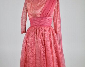 1950s Dress / Pink Dress / 1950s Lace Dress / Chiffon Dress Evening Dress Party Dress Wedding Dress Ballerina Pink Dress