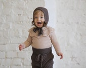 Knit baby sweater with lace ruffle collar Knit baby clothes Baptism outfit Vintage look Knit sweater