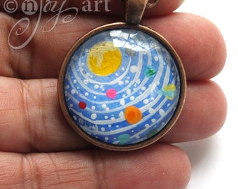 Handpainted Solar System Pendant with necklace, original acrylic painting under glass, mini art, NOT A PRINT