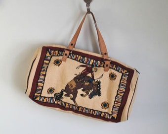 vintage canvas duffle bag  - RODEO tapestry purse
