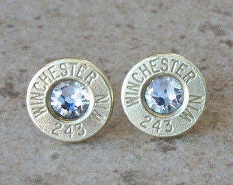 Winchester 243 Brass Bullet Earring, Lightweight Thin Cut, Clear/Diamond Swarovski Crystal, Surgical Steel Posts - 360