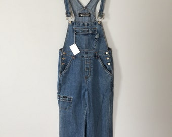 90s denim jumpsuit | multiple pocket denim overalls | indigo blue dungarees