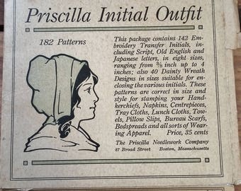 Antique Transfers for Sewing Modern Priscilla Initial Outfit Letter J 1910's Vintage Sewing Pattern Ephemera Embroidery Farmhouse Primitive