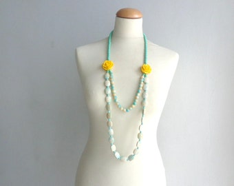 Green yellow long necklace, flower necklace, long flower necklace, romantic necklace