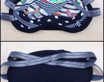 Scrap Sleep Mask- Black White Multi Butterfly