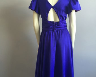 indigo formal maxi dress with cut out back openings and puffy shoulder sleeve womens elegant cocktail event 80s vintage deep blue empire S M