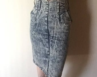 5 midi acid wash denim jean skirt 100% cotton 1980s vintage rocker new wave punk ultra HIGH WAIST pencil bottom 5 6 7 26 27 waist