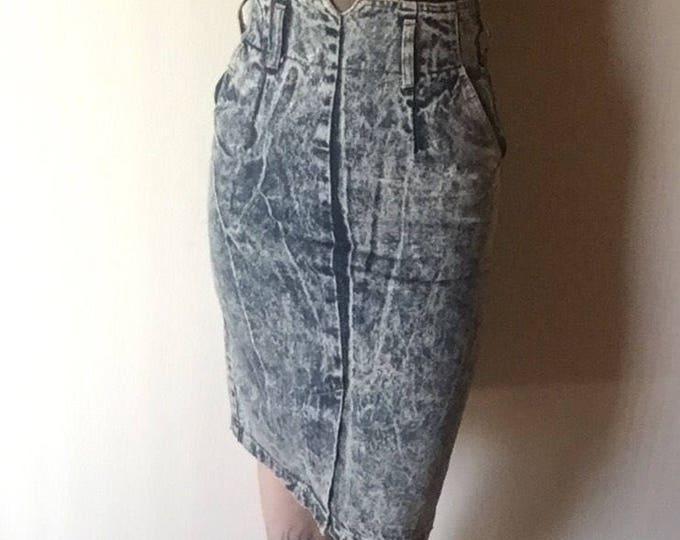 5 midi acid wash denim jean skirt 100% cotton 1980s vintage rocker new wave punk ultra HIGH WAIST pencil bottom 5 6 7 26 27 waist