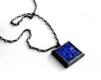 Mosaic Necklace - Lapis Lazuli Silver Necklace - Mosaic Pendant - Square Pendant - blue silver pendant - blue mosaic necklace - artisan made