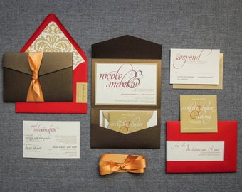 "Gold Wedding Invitations, Dramatic Invitation Suite, Gold Pocket Wedding Invitation - ""Dramatic Script"" PF-1L-v3"