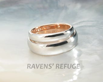 two tone platinum and rose gold classic domed wedding band set - Handmade Wedding Rings