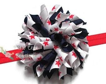 Patriotic Hair Bow, Hair Bows for Girls, July 4th Korker Bows, Red Headband, Baby Headband, Toddler Headband, Barrettes & Clips, Hair Clips