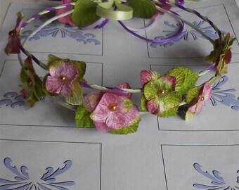Pink Wedding Wreath Flower Girl Crown Velvet Flower Wreaths Halo Renaissance Fairy Halos, Handmade Hair Accessories Gifts