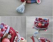 Boho Chic Bracelet Pink Blue Fuchsia Lilac, Bohemian Jewelry Gypsy Bracelet, Tassel Bracelet, Multi Strand Braided Cuff, Hippie Jewelry