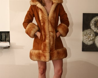 vintage 60s 70s suede  shearling fur trimmed princess coat SCULLY
