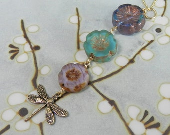 Graduated Glass Flowers and Dragonflies Purple, Blue and Turquoise Pendant on Gold Filled  Chain