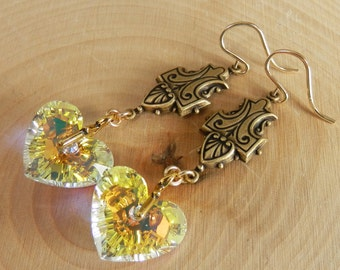 Swarovski Crystal Auroraborealis Modern Heart and Gold Filled Victorian Earrings