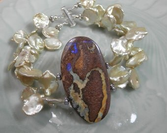 Bold Australian Boulder Opal and Light Olive Gold Freshwater Petal Pearl Bracelet with Sterling Silver Clasp