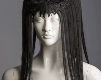 Art wig / Black horn headdress / Witch headpiece / Vampire crown with hair and lace / Wicca horned headdress / Halloween / Burning man