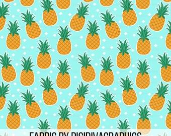 Pineapple Fabric By The Yard - Hawaiian Pineapples on an Aqua Background Print in Yard & Fat Quarter