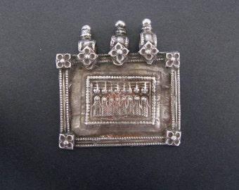 Antique Indian Amulet, Old High Grade Silver Indian Pendant, Ethnic Tribal, Seven Mothers (Sapta Matrikas), Rajasthan, 23.4 grams (0.825oz.)