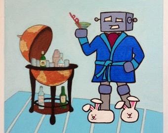Robot of Leisure: Shaken, Not Conquered - original artwork - acrylic on canvas
