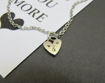 Couples initial Necklace | Valentine Gift for Her | Tiny Heart necklace | Initial Necklace| Personalized Girlfriend Gift