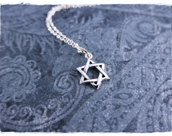 Small Star of David Necklace - Sterling Silver Star of David Charm on a Delicate Sterling Silver Cable Chain or Charm Only