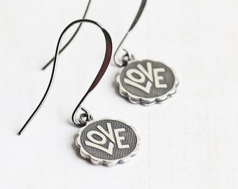 Small Oxidized Silver Plated LOVE Charm Earrings on Gunmetal Hooks, Valentine Jewelry