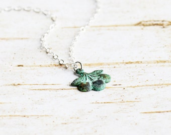 Tiny Aged Patina Cherry Stem Charm Necklace on Sterling Silver Chain