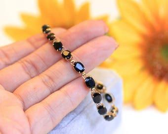VINTAGE 18.70tcw blue sapphire tennis bracelet, oval blue sapphire gold bracelet,  PRICE is OBO