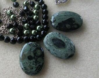 Kambaba Jasper Pendant, Jade Beads, Glass Pearls, DIY Jewelry Kit, Gemstone Beads