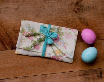 "4""x6"" size, set of 5 photo print packaging pink and yellow floral envelopes aqua blue recycled ribbon"